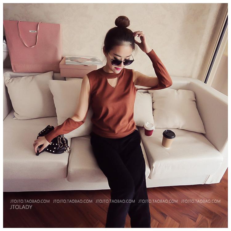 เสื้อแฟชั่นเกาหลี แต่งซีทรูคอและแขนตามภาพ สีน้ำตาล