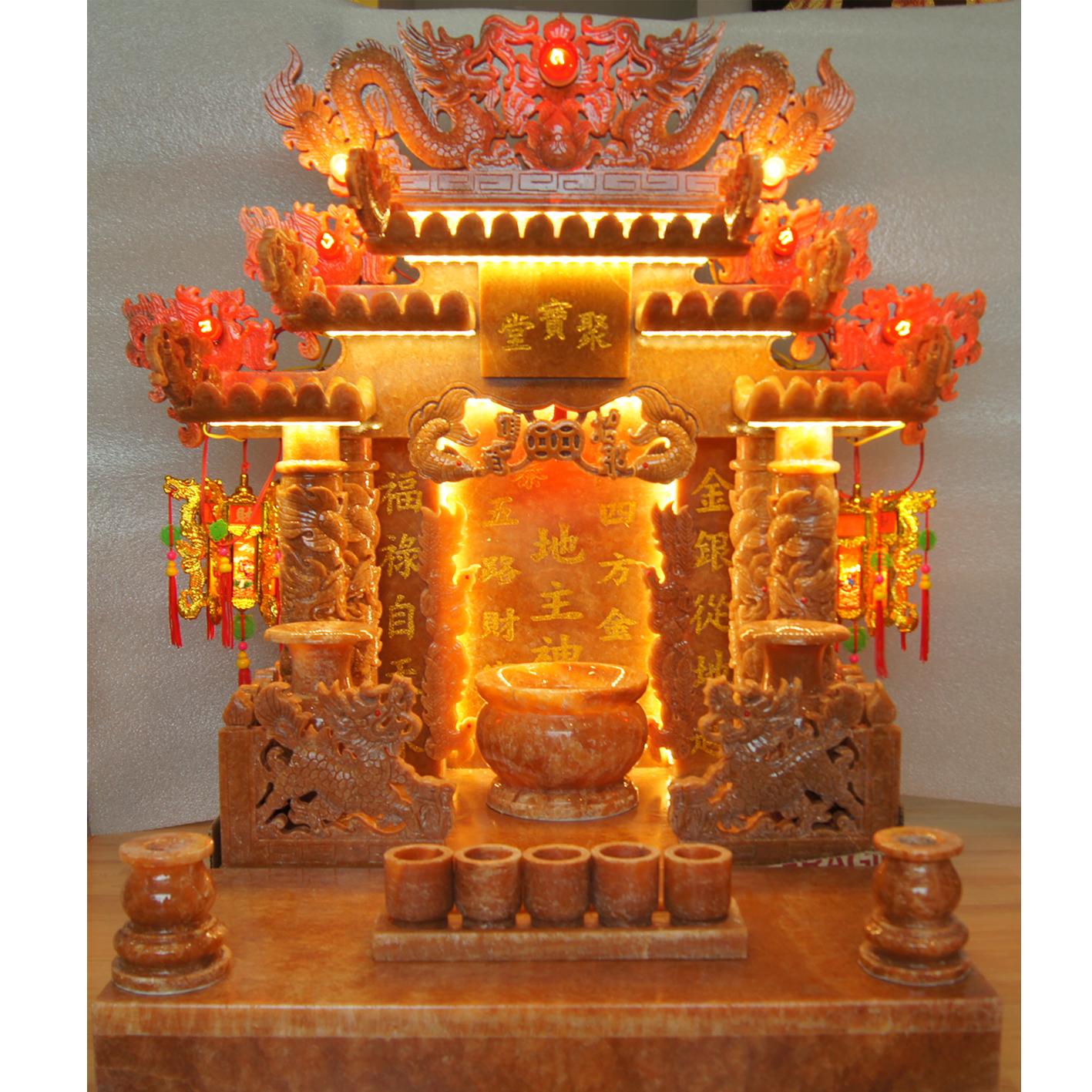 ศาลเจ้าที่หินอ่อน (ตี่จู้หินอ่อน ตี่จู้เอี๊ยะ) ขนาด 24 นิ้ว 888 หินอ่อน หยกน้ำผึ้งแก้วเข้ม