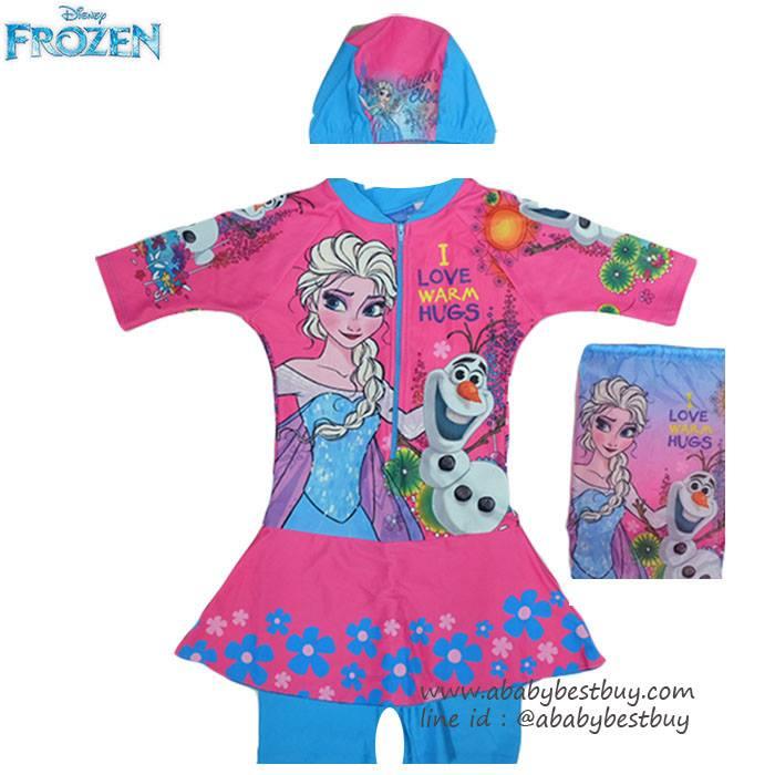 """""""( For Kids ) Swimsuit for Girls ชุดว่ายน้ำ Disney Frozen ชุดว่ายน้ำ บอดี้สูท เด็กผู้หญิง เสื้อแขนสั้นกระโปรงกางเกง สีชมพู ชุดว่ายน้ำเด็กผู้หญิง สุดน่ารัก ใส่สบาย ดิสนีย์แท้ ลิขสิทธิ์แท้"""