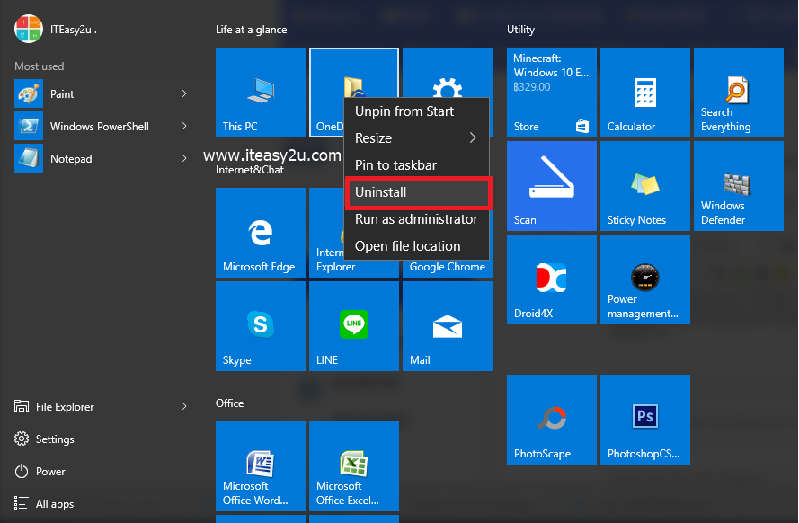 Uninstall APP On Windows10