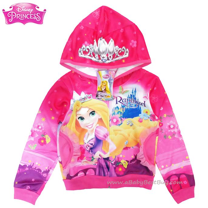 ฮ ( Size เด็ก 4-6-8-10-12-14 ปี ) Jacket Disney Rapuzel เสื้อแจ็คเก็ต เสื้อกันหนาว เด็กผู้หญิง สกรีนลาย เจ้าหญิงราพันเซล สีชมพู รูดซิป มีหมวก(ฮู้ด)ใส่คลุมกันหนาว กันแดด ใส่สบาย ดิสนีย์แท้ ลิขสิทธิ์แท้ (Size 4-6-8-10-12-14)