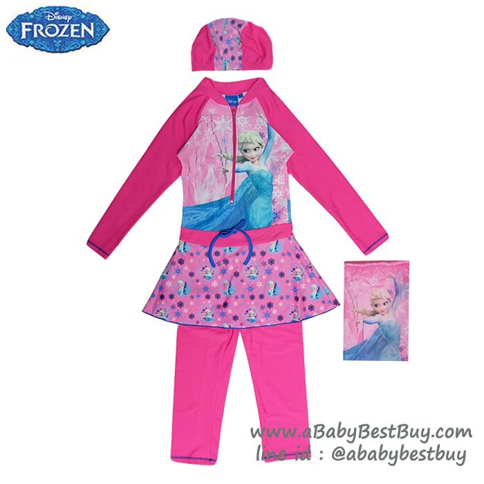 ( For Kids ) ชุดว่ายน้ำ เด็กผู้หญิง Disney Frozen บอดี้สูท เสื้อแขนยาว กระโปรงกางเกงขายาว สีชมพู ลาย เจ้าหญิงเอลซ่า ชุดว่ายน้ำเด็กผู้หญิง ดิสนีย์แท้ ลิขสิทธิ์แท้