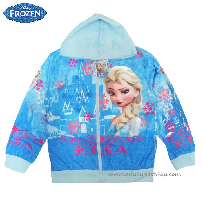 ฮ (ไซส์ 10) Disney Frozen for Girl เสื้อแจ็คเก็ต เสื้อกันหนาวแขนยาว เด็กผู้หญิง สกรีนลาย เจ้าหญิงเอลซ่า สีฟ้า รูดซิป มีหมวก(ฮู้ด) ใส่คลุมกันหนาว กันแดด ใส่สบาย ดิสนีย์แท้ ลิขสิทธิ์แท้ (สำหรับเด็ก9-12 ปี)