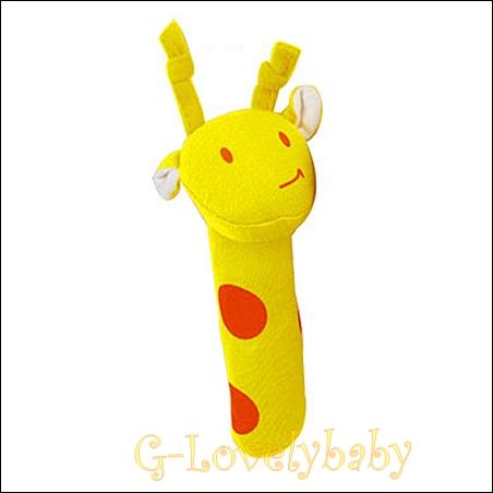 ของเล่นเด็กทารก ของเล่นเสริมพัฒนาการเด็ก ตุ๊กตาของเล่นเด็กอ่อน ตุ๊กตารูปสัตว์ปี๊ปๆ ยีราฟสีเหลือง