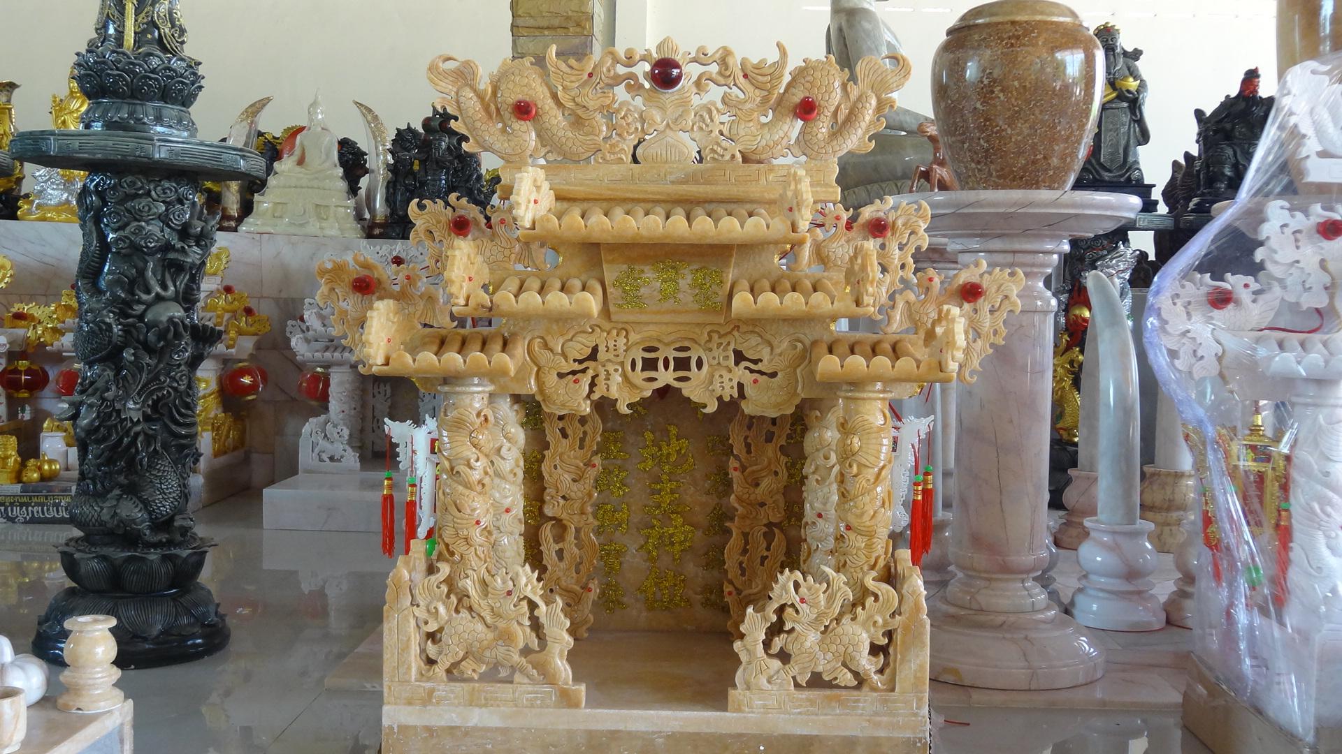 ศาลเจ้าที่หินอ่อน (ตี่จู้หินอ่อน ตี่จู้เอี๊ยะ) ขนาด 35นิ้ว 888 น้ำผึ้งทราย