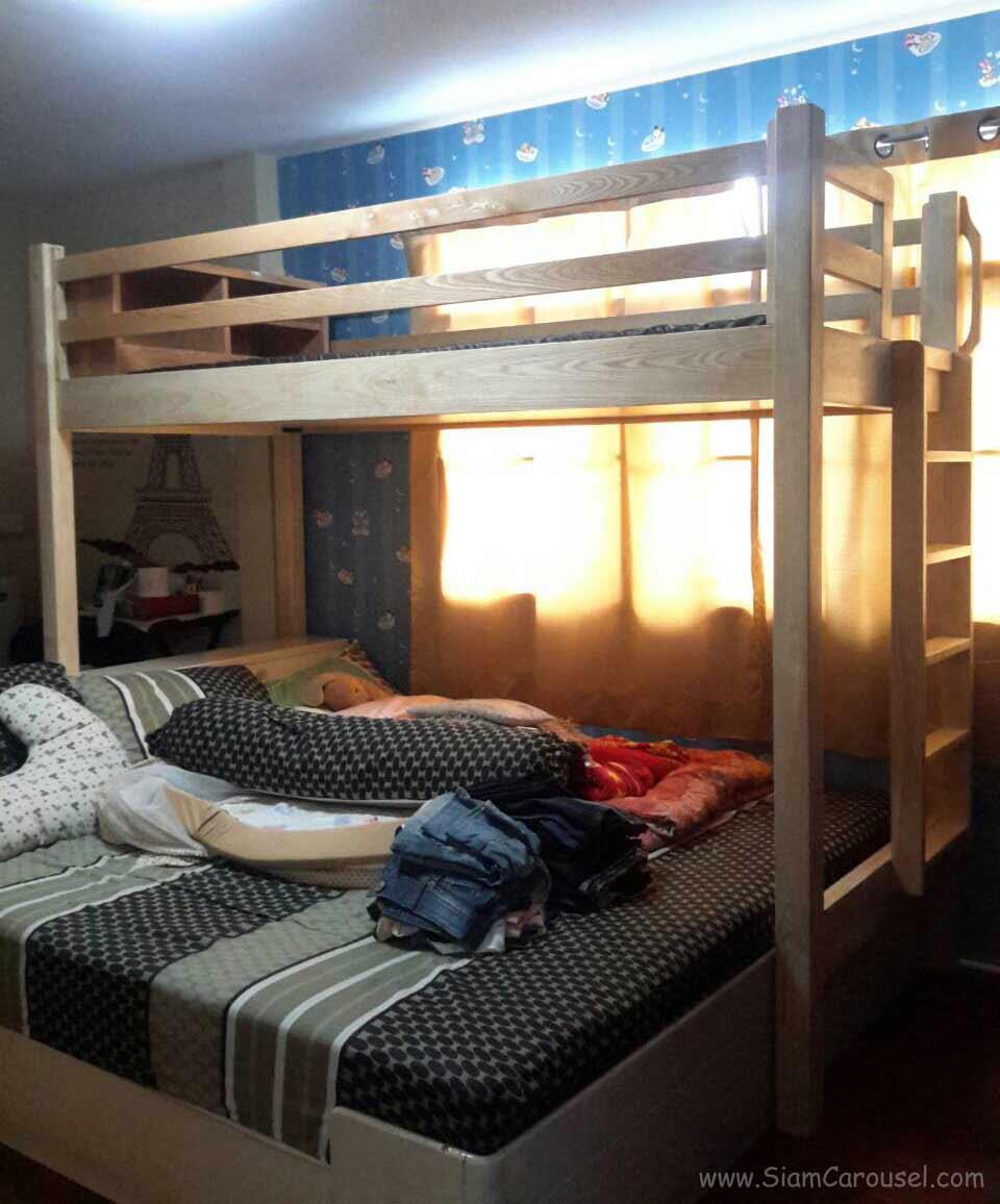เตียง 2 ชั้น หัวเตียงมีที่เก็บของ