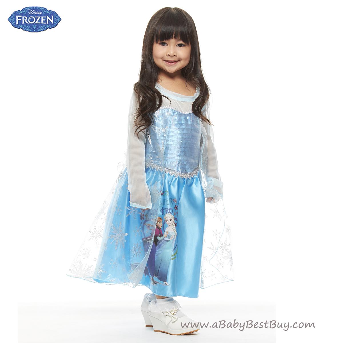 ฮ ( 4-6-8-10 ปี ) ชุดเดรสยาว สีฟ้า แขนยาว ลายเจ้าหญิงโฟรเซ่น ดิสนีย์แท้ ลิขสิทธิ์แท้ (สำหรับเด็ก4-6-8-10 ปี)