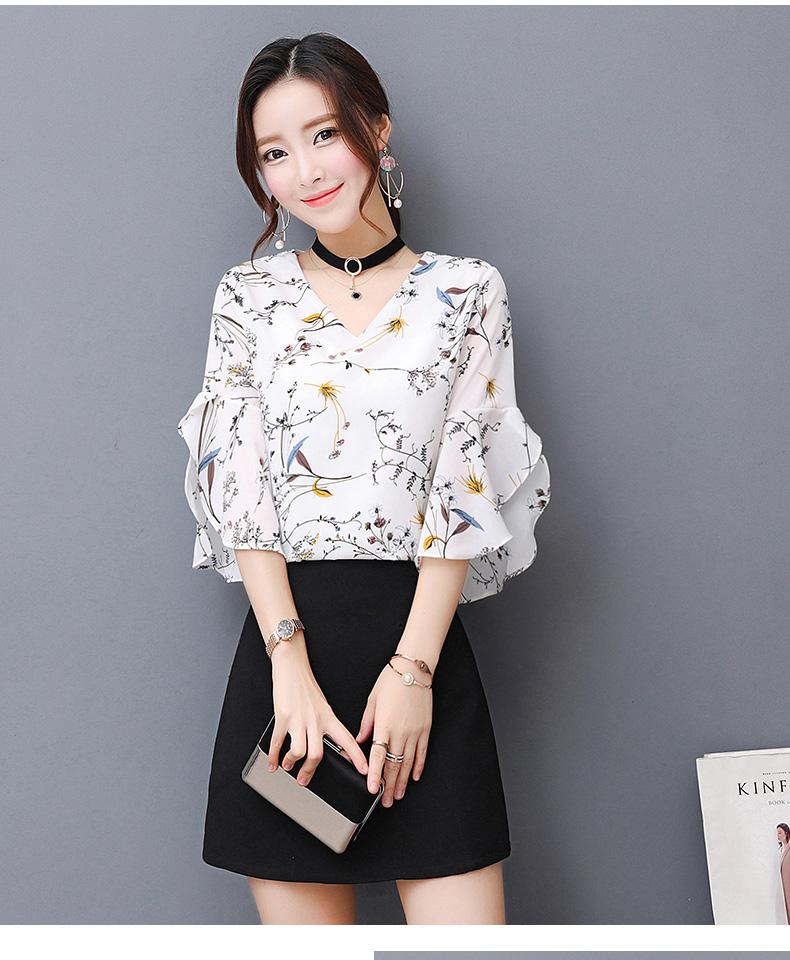 KTFN เสื้อแฟชั่นผ้าชีฟองเกาหลี พิมพ์ลาย คอวีเก๋ๆสามารถใส่ได้ทั้ง2ด้าน