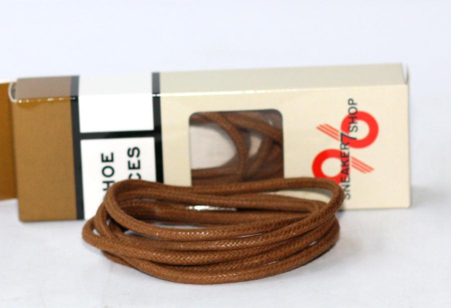 สายเชือกรองเท้าหนังแว๊กกลม leather rope wax สีน้ำตาล เหมาะสำหรับ Redwing Timberland Dr.martens อื่นๆ ยาว 120 CM (2 เส้น)