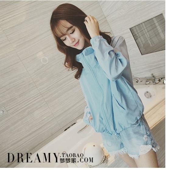 เสื้อคลุม แจ๊คเก๊ต ซิปหน้า มีฮูส สีฟ้า ผ้าโพลีเอสเตอร์อย่างดี ผ้านิ่ม