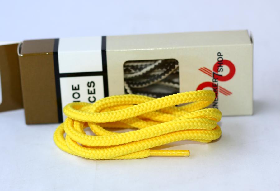 สายเชือกรองเท้า ถักกลม เหลืองล้วน เหมาะสำหรับ Redwing Timberland Dr.martens อื่นๆ ยาว 116 CM (2 เส้น)