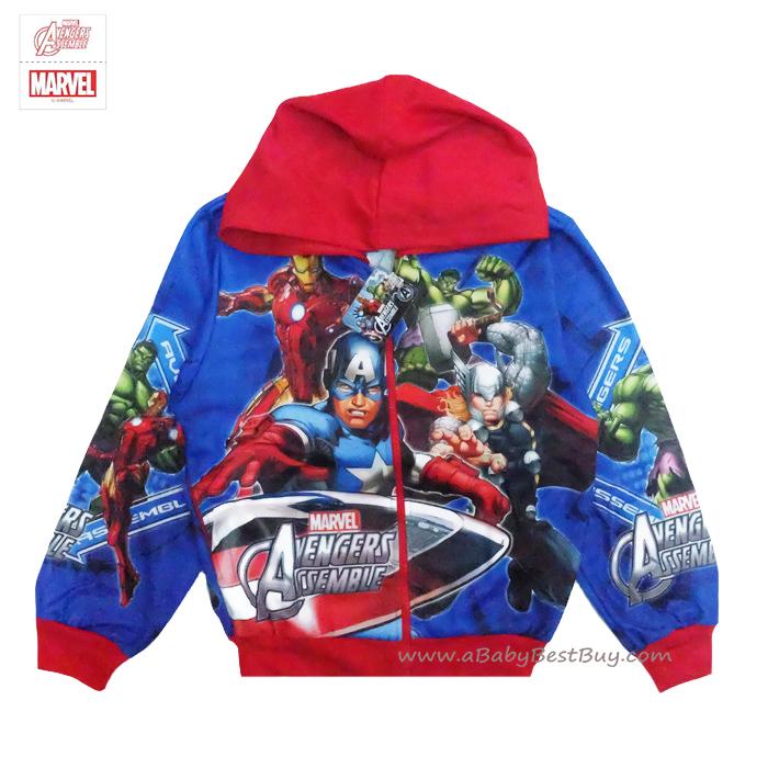 ฮ (ไซส์ M) เสื้อแจ็คเก็ต เสื้อกันหนาวแขนยาว เด็กผู้ชาย สกรีนลาย Super Hero The Avengers สีน้ำเงิน รูดซิป มีหมวก(ฮู้ด) ใส่คลุมกันหนาว กันแดด สุดเท่ห์ ใส่สบาย ลิขสิทธิ์แท้ (สำหรับเด็กอายุ 6-7 ปี )
