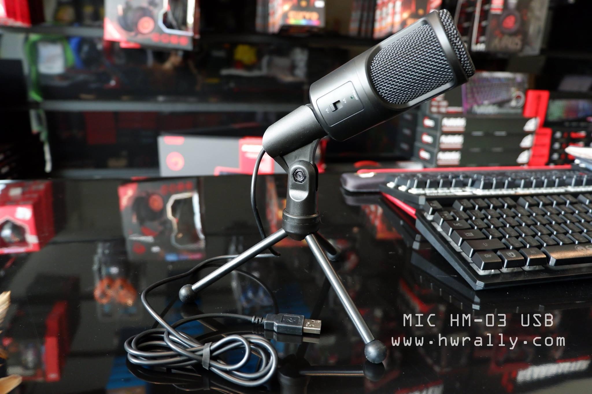 ไมค์โครโฟน ตั้งโต๊ะ หัวเสียบ USB รุ่น HM-03 USB