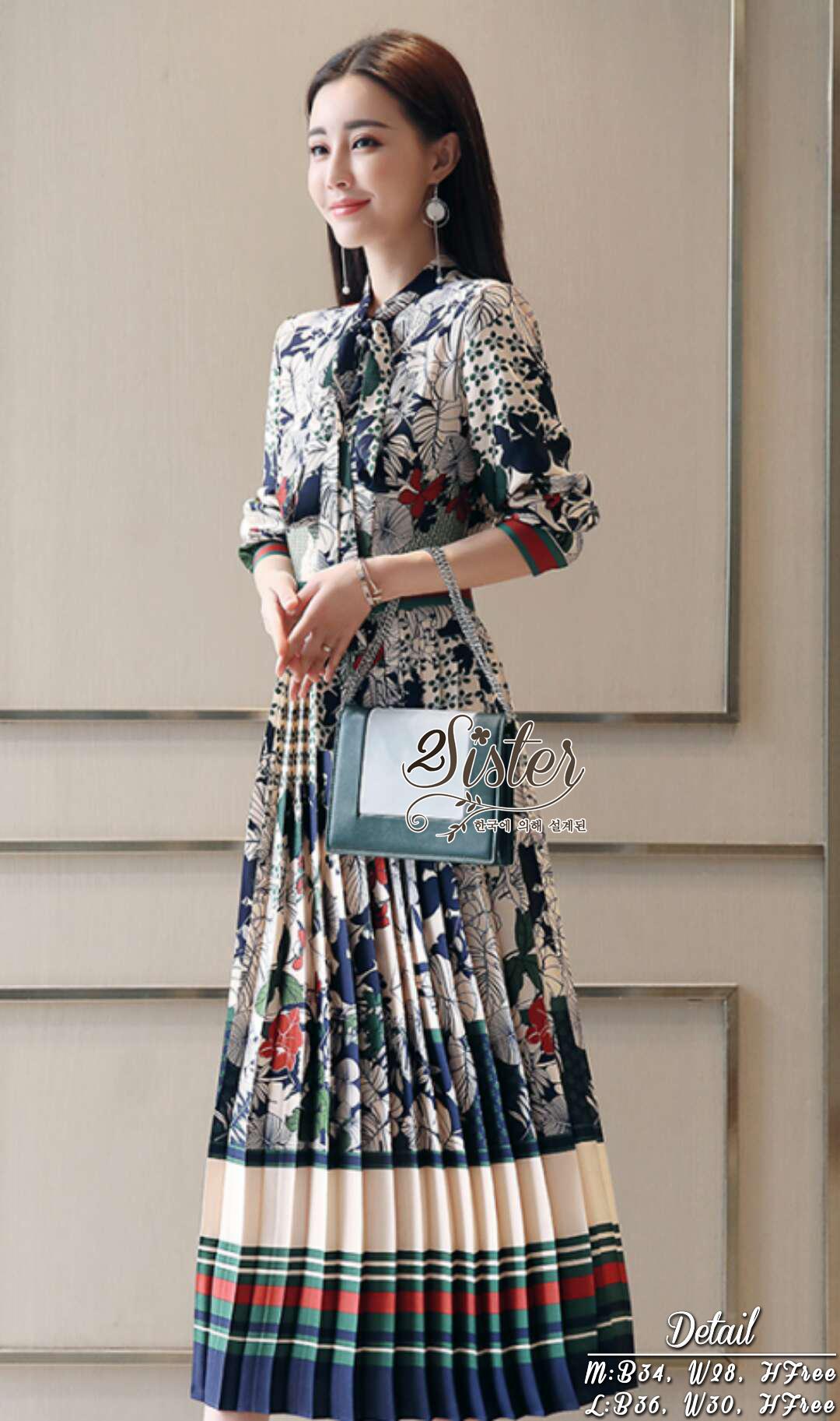 เดรสแฟชั่น เดรสยาวลุคสวยหรูผู้ดีสไตล์แบรนด์ดัง เนื้อผ้าพลิ้วใส่สบาย พิมพ์ลายสวยหรู