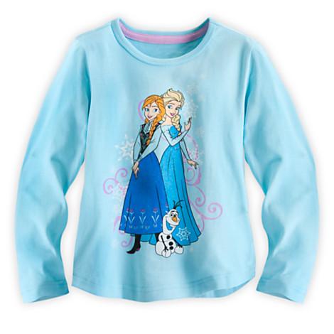 z Anna and Elsa Long Sleeve Tee for Girls - Frozen ของแท้ นำเข้าจากอเมริกา (Size:4)