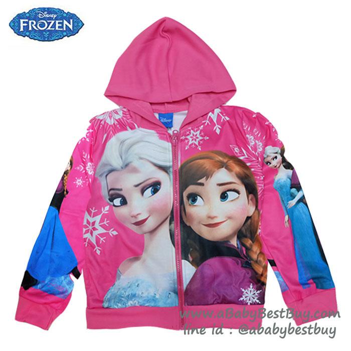 """"""" ( Size เด็ก 4-6-8-10 ปี ) Jacket Disney Frozen for Girl เสื้อแจ็คเก็ต เสื้อกันหนาว เด็กผู้หญิง สีชมพู รูดซิป มีหมวก(ฮู้ด)ใส่คลุมกันหนาว กันแดด ใส่สบาย ดิสนีย์แท้ ลิขสิทธิ์แท้"""