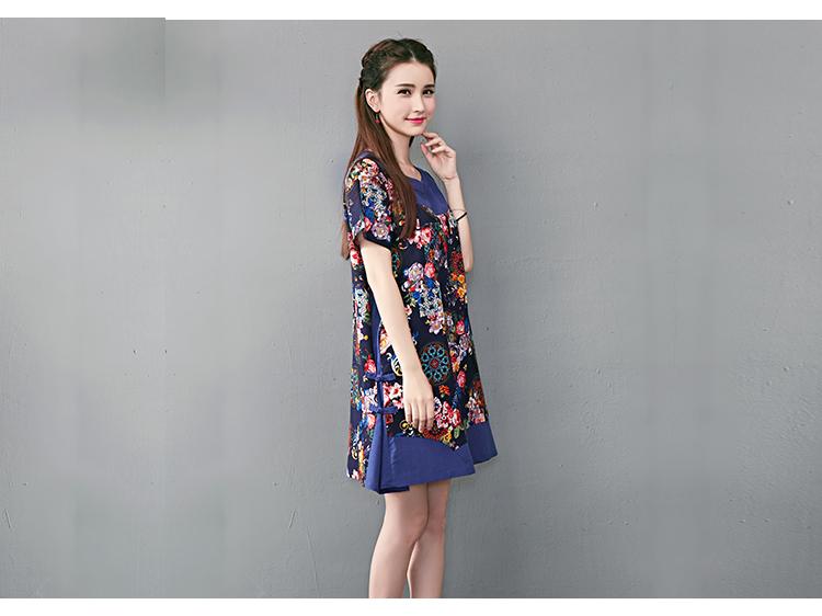 ชุดเดรสผ้าฝ่ายผสม ผ้านิ่ม ลายดอกไม้ สีน้ำเงิน มีกระเป๋า ข้าง ตามภาพ