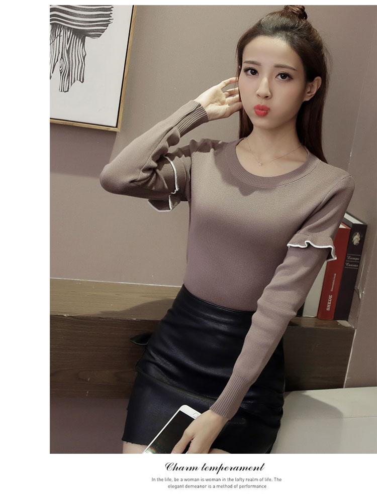 เสื้อแฟชั่นเกาหลี แขนยาวแต่งต้นแขนระบาย สีน้ำตาลหม่น (ตามภาพ)