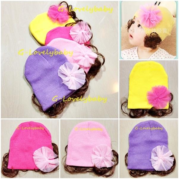 หมวกเด็ก หมวกปอยผมเด็ก หมวกไหมพรมติดปอยผม 2 ข้าง หมวกวิกผม หมวกไหมพรมฝ้ายเกาหลี น่ารักๆ แบบเรียบประดับโบว์ดอกไม้