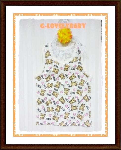 เสื้อกล้ามเด็ก เสื้อเด็กหญิง เสื้อกล้ามคอกลม ลาย cute bear หัวใจ สไตล์ญี่ปุ่น ผ้าคอตตอนนุ่ม ขนาด 95 เด็กเล็กน้ำหนัก 14 kg