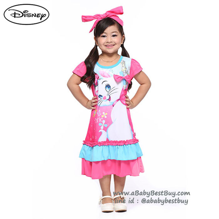 ( S-M-L-XL ) ชุดเดรส Disney Marie สีชมพู แขนสั้น ดิสนีย์แท้ ลิขสิทธิ์แท้ (สำหรับเด็ก4-6-8-10ปี)