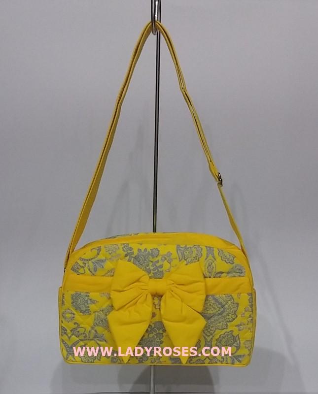 กระเป๋าสะพาย นารายา ผ้าคอตตอน สีเหลือง ลายหยดน้ำ ติดโบว์ (กระเป๋านารายา กระเป๋าผ้า NaRaYa กระเป๋าแฟชั่น)