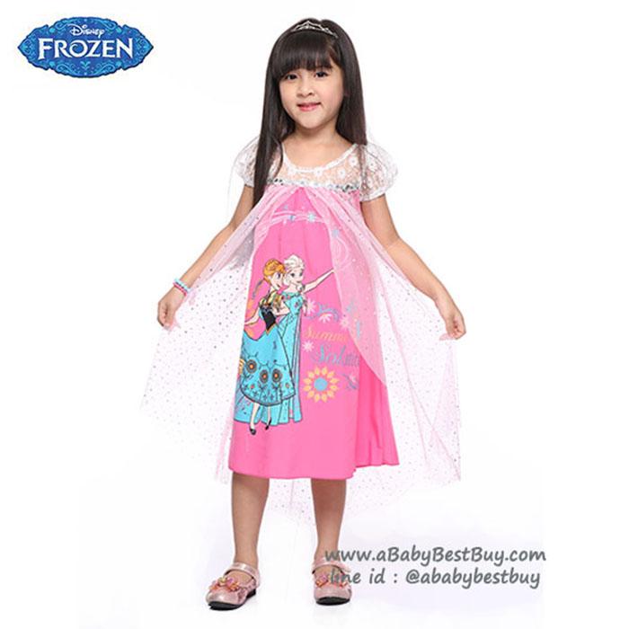 (4-6-8-10 ปี) ชุดเดรสยาวสีชมพู แขนตุ๊กตา ลายเจ้าหญิงโฟรเซ่น ดิสนีย์แท้ ลิขสิทธิ์แท้ (สำหรับเด็ก4-6-8-10 ปี)