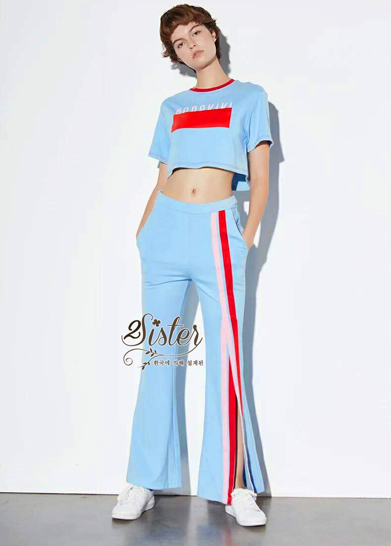ชุดเซทแฟชั่น เซ็ตเสื้อ+กางเกง เนื้อผ้ายืด cotton ใส่สบาย