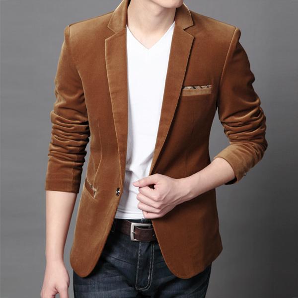 Pre-Order เสื้อสูทผู้ชาย สูทลำลอง เบลเซอร์ ลำลองแบบหรูหรา เนี้ยบ ๆ ผ้าลูกฟูกบาง แบบเท่ ๆ สีแทน
