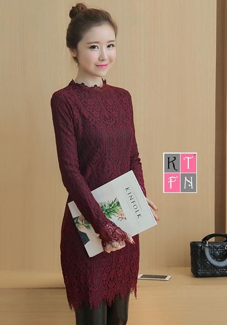 KTFN เดรสแฟชั่นเกาหลี ผ้าลุกไม้ แขนยาว คอปิด ซิปด้านหลัง สีไวน์แดง