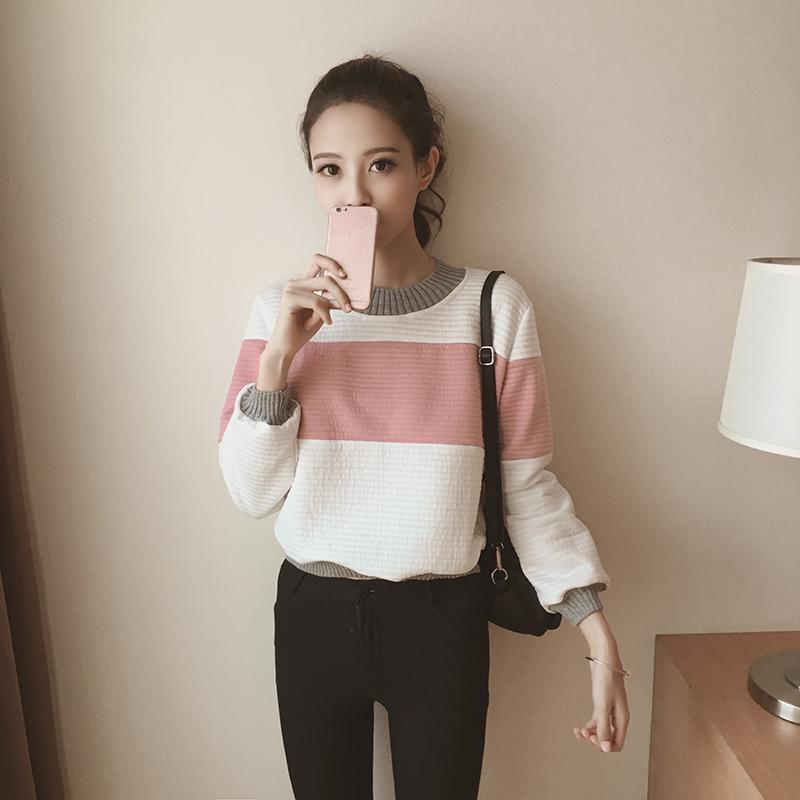M&Mเสื้อแฟชั่นกันหนาว สีทูโทน ขาวคาดชมพู จั้มแขนและเอว ผ้าหนานุ่ม
