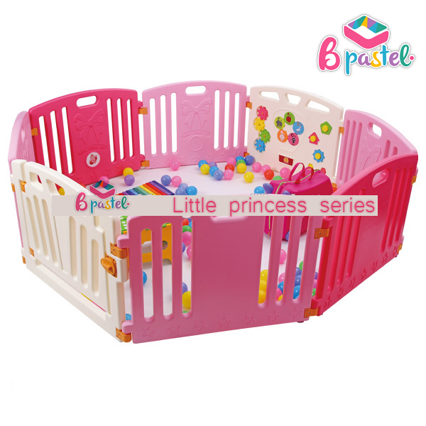คอกกั้นเด็ก B Pastel รุ่น Little Princess series คอกสีชมพู บีพาสเทล Size L รั้วกั้นเด็ก ขนาด 8 แผ่น
