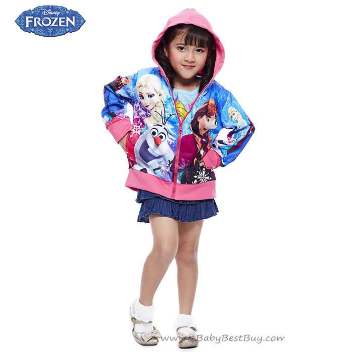 """"""" Size เด็ก 4-6-8-10 ปี """" Jacket Disney Frozen for Girl เสื้อแจ็คเก็ต เสื้อกันหนาวแขนยาว เด็กผู้หญิง สกรีนลาย Frozen สีฟ้า รูดซิป มีหมวก(ฮู้ด)ใส่คลุมกันหนาว กันแดด ใส่สบาย ดิสนีย์แท้ ลิขสิทธิ์แท้"""