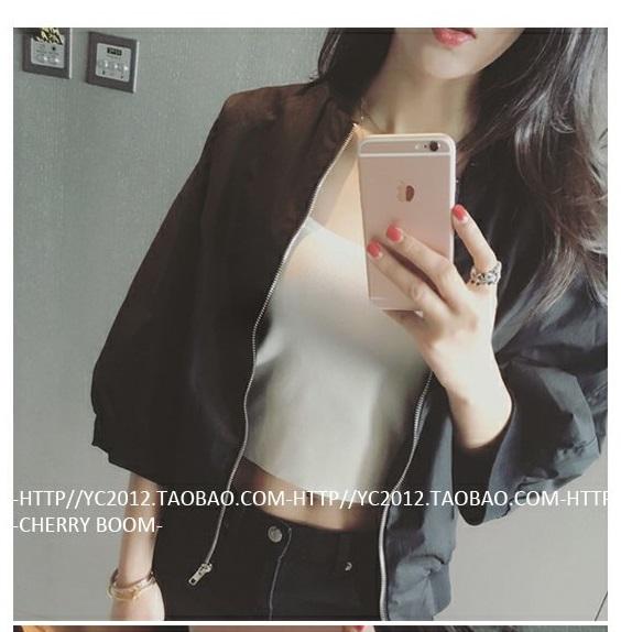เสื้อคลุมกันแดดแฟชั่นเกาหลี ซิปหน้า ผ้าโพลี สีดำ