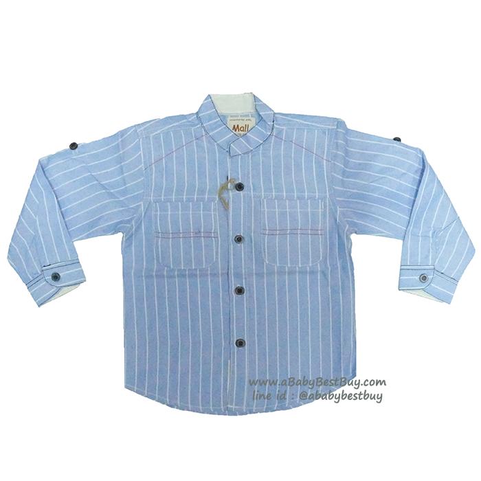 ( 1-2-3 ) เสื้อเชิ้ตแขนยาวสีฟ้า แฟชั่น เด็กผู้ชาย สุดเท่ห์ ใส่สบาย (Size 1-2-3)