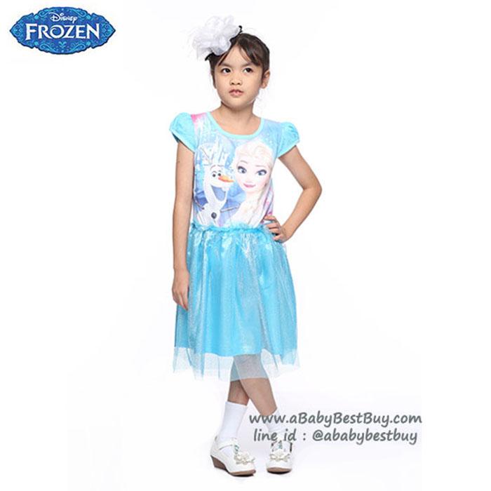 ( 4-6-8-10 ปี ) ชุดเดรส Disney Frozen สีฟ้า แขนสั้น สกรีนลาย เจ้าหญิงเอลซ่า ดิสนีย์แท้ ลิขสิทธิ์แท้ (สำหรับเด็ก4-6-8-10 ปี)