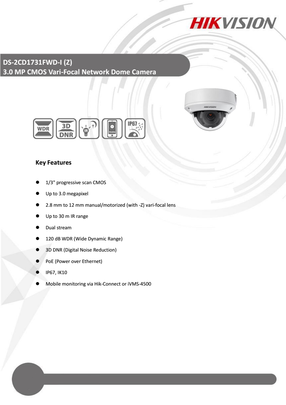 Hikvision DS-2CD1731FWD-IZ 3MP WDR Motorized VF lens Dome Network Camera