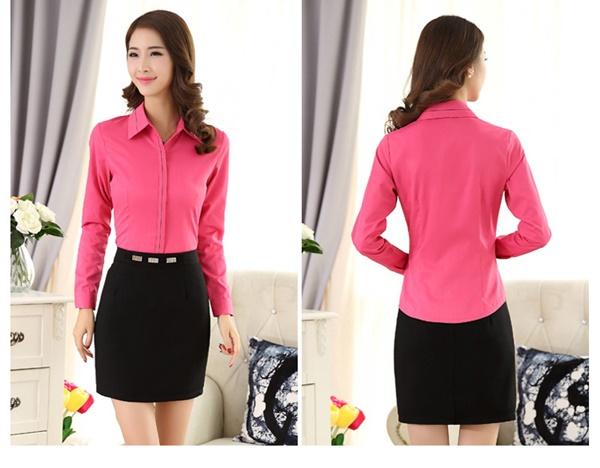 Pre-Order เสื้อเชิ้ตผู้หญิง เข้ารูป แขนยาว สีชมพูเข้ม ผ้าฝ้าย แต่งด้วยผ้าลายเส้น ที่ปลายแขนและสาบคอ