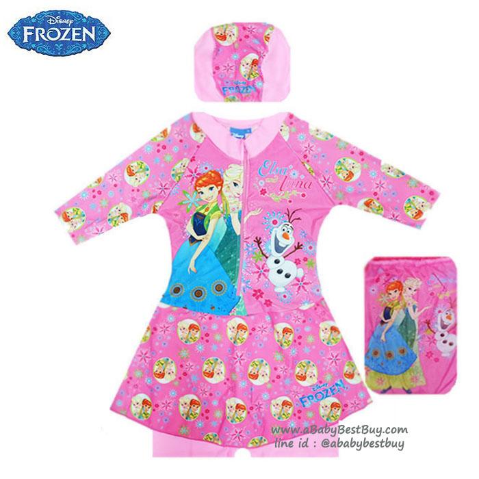 ฮ (size M) Swimsuit for Girls ชุดว่ายน้ำ เด็กผู้หญิง Disney Frozen บอดี้สูทเสื้อแขนยาว กระโปรงกางเกง สีชมพู สกรีนลาย เจ้าหญิง เอลซ่า โอลาฟ มาพร้อมหมวกว่ายน้ำและถุงผ้า สุดน่ารัก ใส่สบาย ดิสนีย์แท้ ลิขสิทธิ์แท้ (สำหรับเด็กอายุ 5-6 ปี)