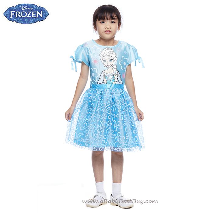 ( 4-6-8-10 ปี ) ชุดเดรสสีฟ้า แขนสั้น ลายเจ้าหญิงเอลซ่า ดิสนีย์แท้ ลิขสิทธิ์แท้ (สำหรับเด็ก4-6-8-10 ปี)