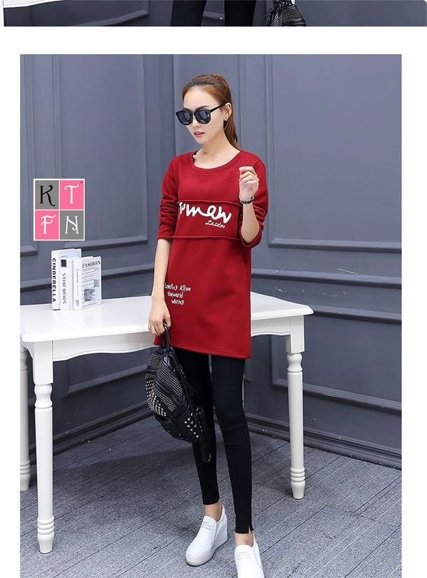 KTFN เดรสแฟชั่น ผ้าผ้ายืดหนานิ่มด้านในเป็นผ้ากำมะหยี่ พิมพ์ลายอักษร สีแดง