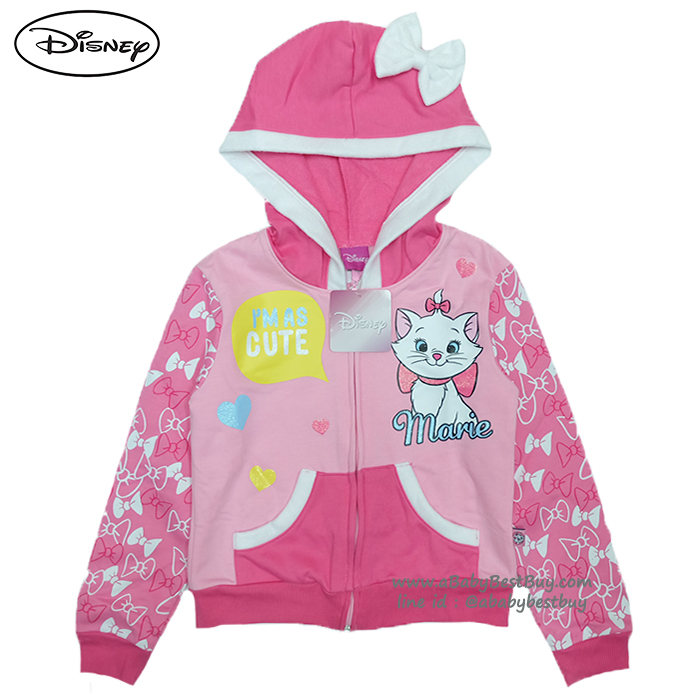 """ฮ """" Size เด็ก 4-6-8-10-12-14 ปี ) Jacket Disney Marie เสื้อแจ็คเก็ต เสื้อกันหนาว แขนยาว เด็กผู้หญิง สกรีนลาย มารี สีชมพู รูดซิป มีหมวก(ฮู้ด)ใส่คลุมกันหนาว กันแดด ใส่สบาย ดิสนีย์แท้ ลิขสิทธิ์แท้"""