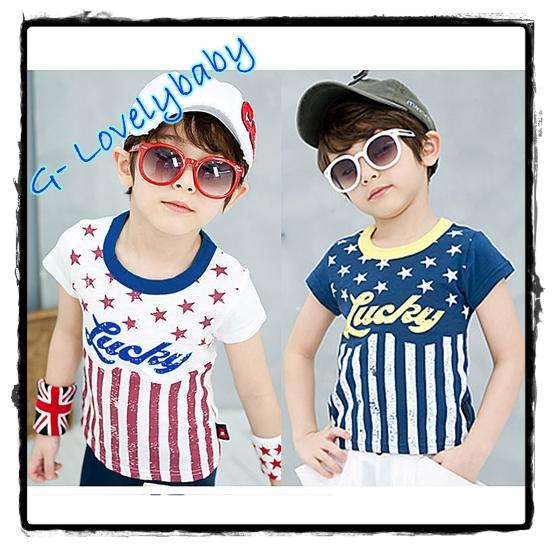 เสื้อผ้าเด็ก เสื้อเด็กชาย เสื้อเด็กชายสไตล์เกาหลี รูปแบบแขนสั้น ผ้าคอตตอน 100% ขนาด 100