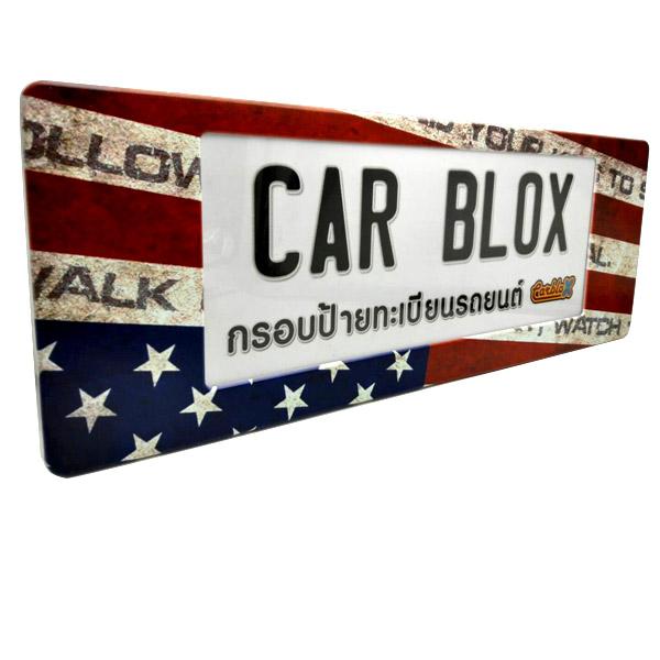 กรอบป้ายทะเบียนรถยนต์ (มีอะคริลิคใสปิดตรงกลาง) แบบยาว 18.5 นิ้ว ลาย USA 3011