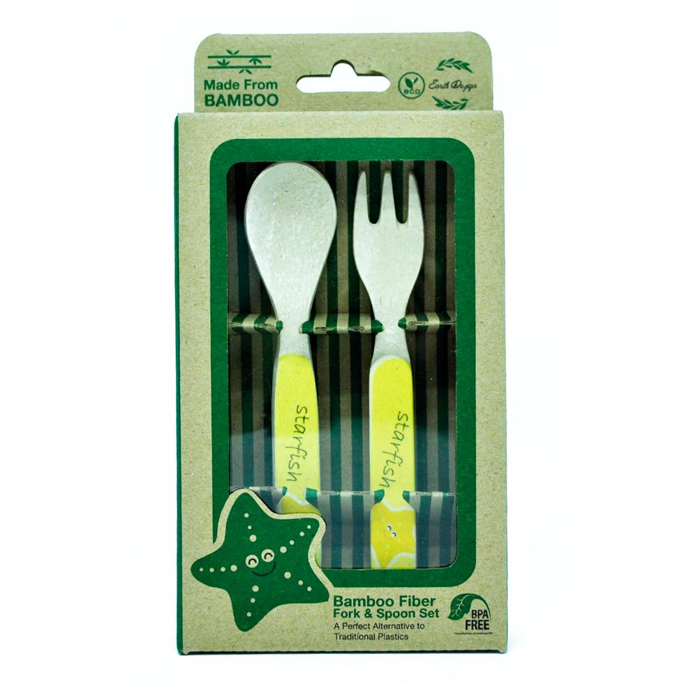 Earthdezign ผลิตภัณฑ์ ชุดช้อนส้อม สำหรับเด็ก ผลิตจากเยื่อไผ่ธรรมชาติ ปลอดสารพิษ