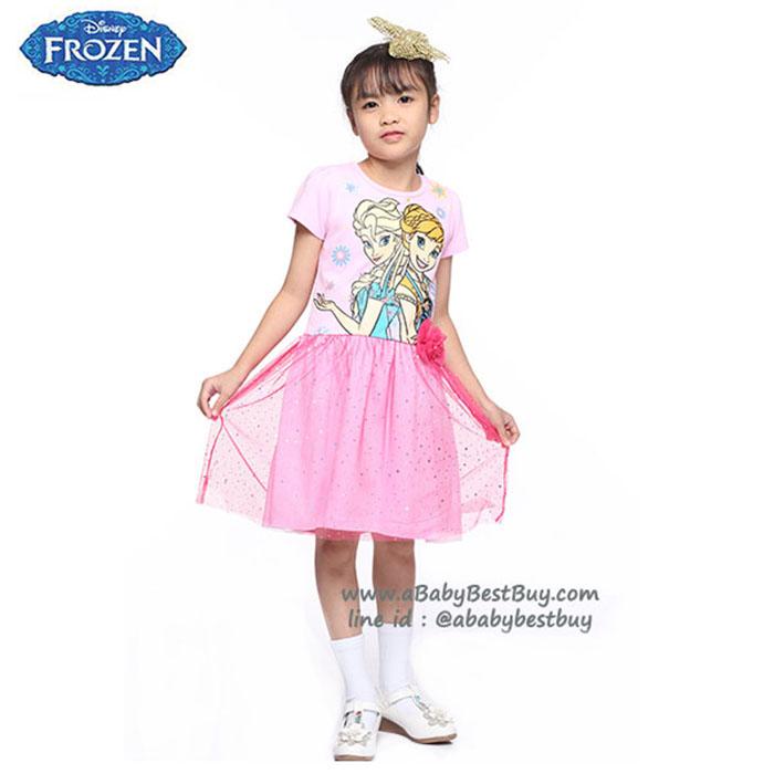 (4-6-8-10 ปี) ชุดเดรสกระโปรง แขนสั้น สีชมพู ลายเจ้าหญิงโฟรเซ่น ดิสนีย์แท้ ลิขสิทธิ์แท้ (สำหรับเด็ก4-6-8-10 ปี)