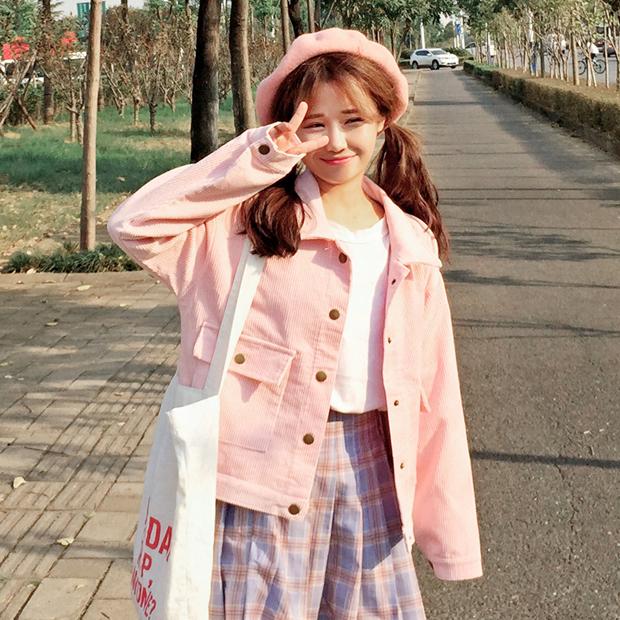 [พร้อมส่ง] เสื้อแจ็คเก็ตน่ารักสไตล์เกาหลี มีสีชมพู/เทา/เขียว