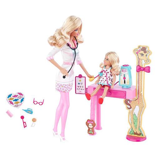 z Barbie I Can Be Doll Playset - Doctor ของแท้100% นำเข้าจากอเมริกา ตุ๊กตาบาร์บี้ เซ็ตคุณหมอและเด็ก