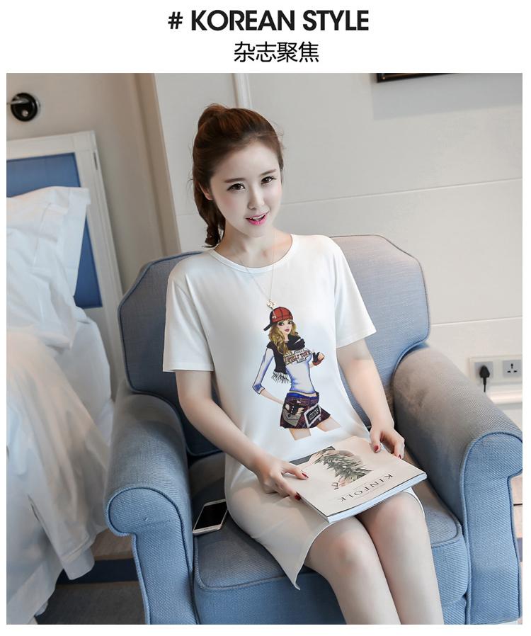 เดรสแฟชั่นผ้าคอตตอน พิมพ์ลายการ์ตูนผู้หญิงแฟชั่น สีขาว