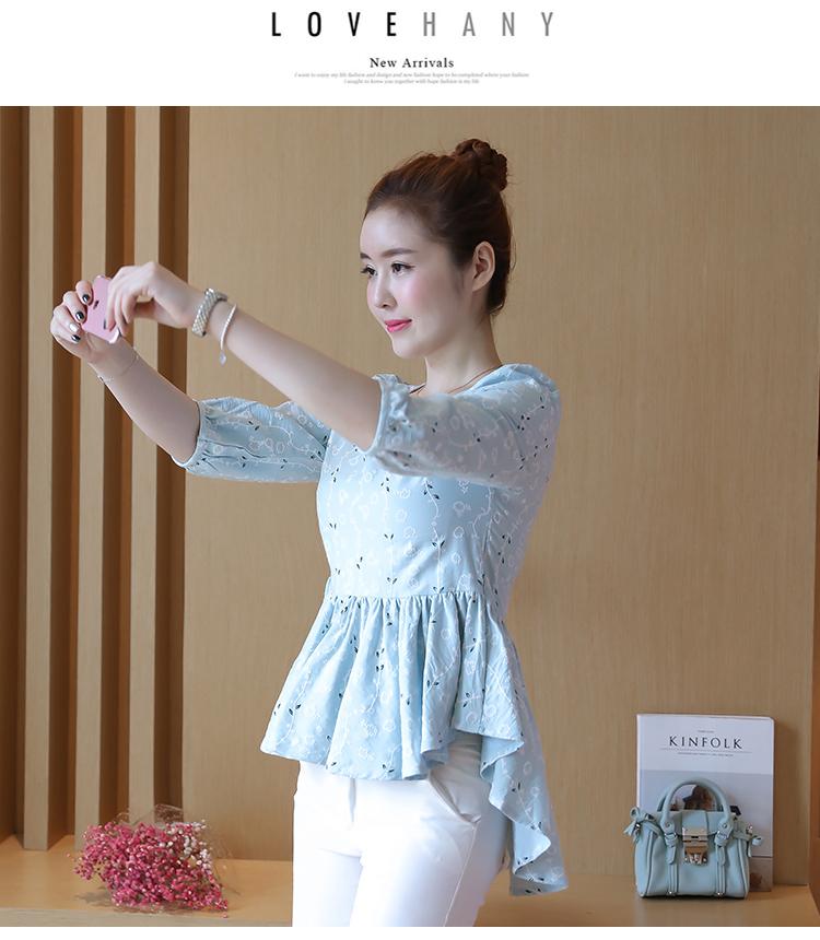 KTFN เสื้อแฟชั่นเกาหลี ผ้านิ่มพิมพ์ลาย ตัดต่อชายระบายหน้าสั้นหลังยาว สีฟ้า